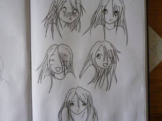 Manga girl faces by giraffewithstripes