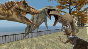 Rexy, Blue, and Mosy vs Indominus Rex by kongzillarex619