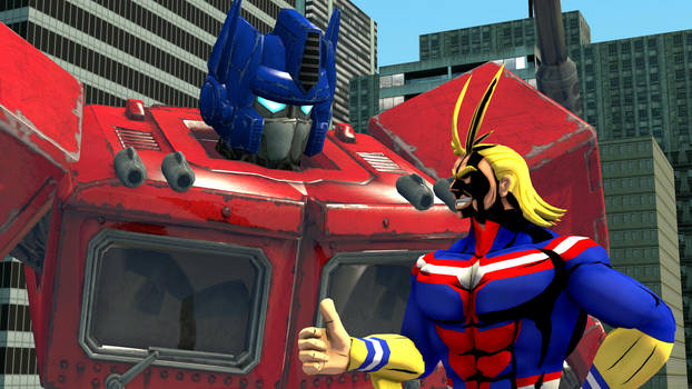 Optimus Prime and All Might by kongzillarex619