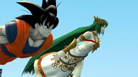 Goku and Palutena flying by kongzillarex619