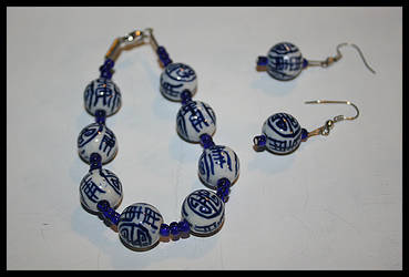 Oriental Earring Bracelet Set by punkdoutkittn