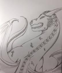 Inktober #12: Obsidian Diamondback Dragon by fangcross666