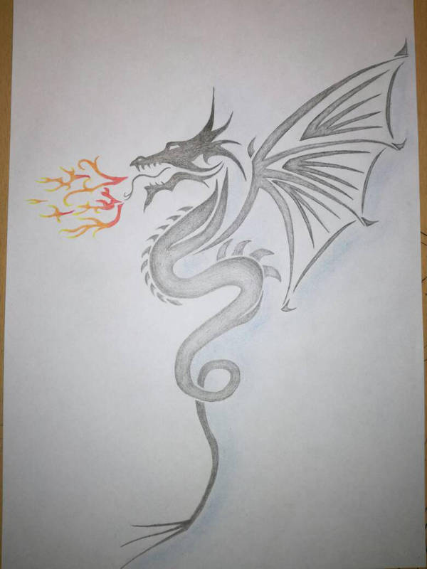 Dragon tattoo drawing by vropas