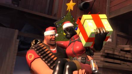 HeavyXFem!Pyro - Christmas Here! by MasterChica1987