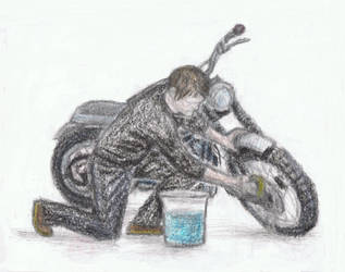 Norman Reedus washing his motorcycle by gagambo
