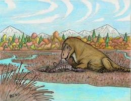 Rhinesuchus for Lunch by Pterosaur-Freak