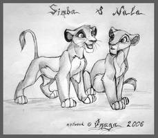 Simba and Nala by OmegaLioness