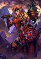 Blood Elf Paladin World of Warcraft Card Art by Tonywash