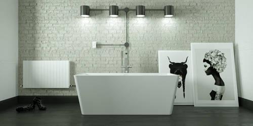 minimalist B/W bathroom by 3DEricDesign