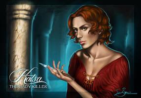 -Graceling- Katsa, girl in red by IngvildSchageArt