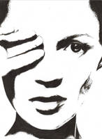 Kate Moss B+W by SketchyRin