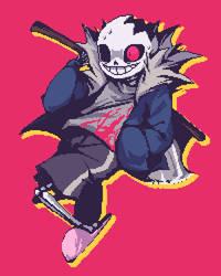 horror!sans pixel by Mochiyy