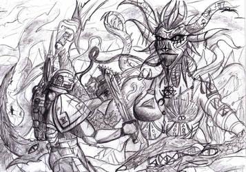marine vs Daemon by BJWthegravelord