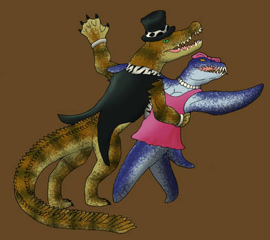 Duke Deinosuchus and Lady Lio by KiyaraSabel