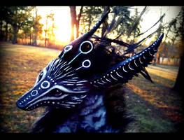--SOLD--Poseable Fantasy Dream Walker Wolf by Wood-Splitter-Lee