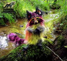 --SOLD--Hand Made Poseable Cranberry Raccoon! by Wood-Splitter-Lee