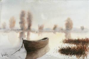 Evening lake by mwolski