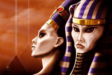 Nefertiti and Akhenaten by Redwoodjedi