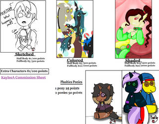 Commission Prices FINALLY! (OPEN) by KayleeA