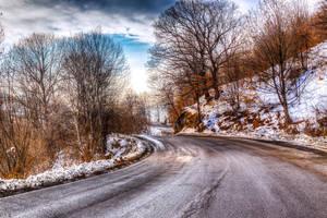 Snowy-ish road 2 by Reiep