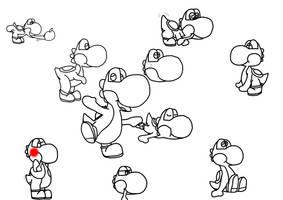 Yoshi Sketches 2 by Modeerfwon