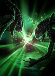 Green Lantern vs. Aliens by samrkennedy