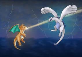 Dragonite vs. Lugia by artisticpuppy