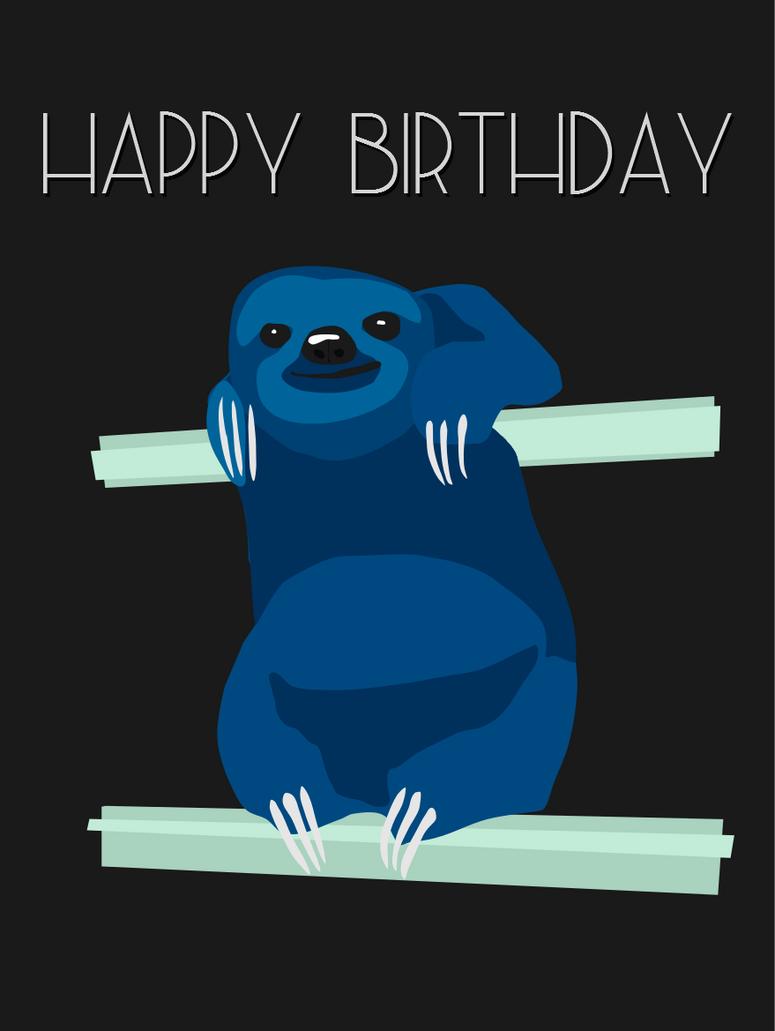 Vector Sloth Birthday Card by quixoticduck
