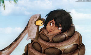 Kaa and Mowgli real painting by thiswaslost