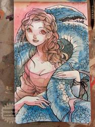 Dragon Girl on Moleskine Journal :) by nati