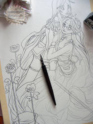 On the drawing board today: Utena and Anthy by nati