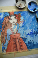 Watercolor painting in progress by nati