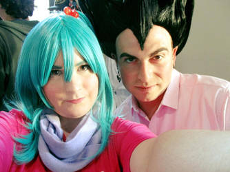 Bulma and Vegeta Selfie by SailorUsagiChan