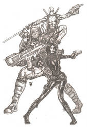 Domino, Cable, and Deadpool by RevolverComics