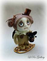 Steampunk Angel with cat. Art doll by LeRu Gallery by LeRuGallery