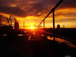 rooftop industrial sunset by Estruda