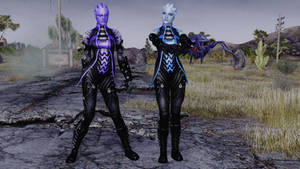 FalloutNV - Liara and Aria Battle Outfits by lsquall