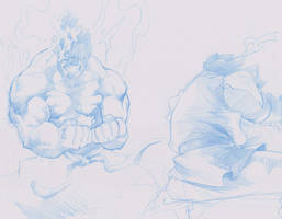akuma vs ryu by tincan21