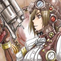 steampunk girl by kuronekokoubou