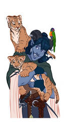 Jester with the tiger cubs and parrot by captainceranna