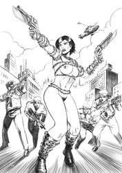 Super Nova Woman lineart by Taclobanon