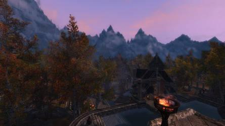 Skyrim Wallpaper 5 - Steps of Dragonsreach by Zakafein