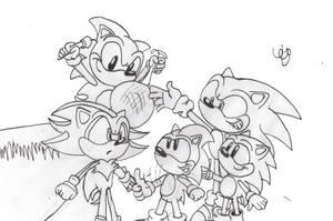 Shadow and 4 Sonics by Azulzinho35