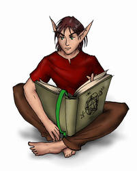 Young Elf reading a magic book by PillarOfFrost