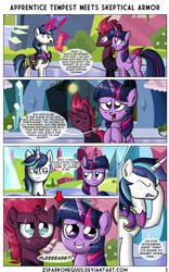Commission - Tempest Shadow Meets Shinning Armor 1 by ZSparkonequus