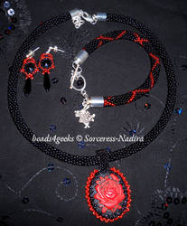 Red Queen Beaded Rose jewellery set - other shot by Sorceress-Nadira