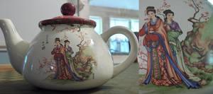 Asian Art Decal Tea Pot by Lerasi
