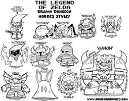 Zelda Monsters Lineart by Dungeonhordes