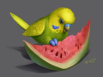 Badgie and watermelon) by Znayduk