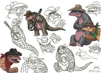 Animal Gang -  Panjang the Pangolin (concept art) by DoctorChevlong
